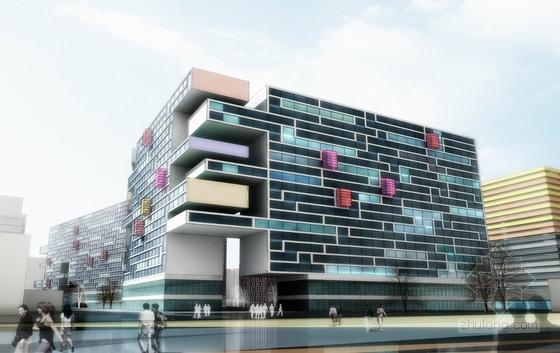现代风格商务住宅楼效果图