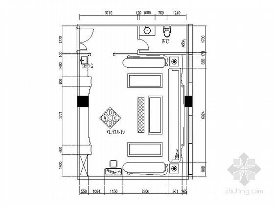 VIP包厢装修资料下载-茶镜饰面装饰VIP包厢立面图