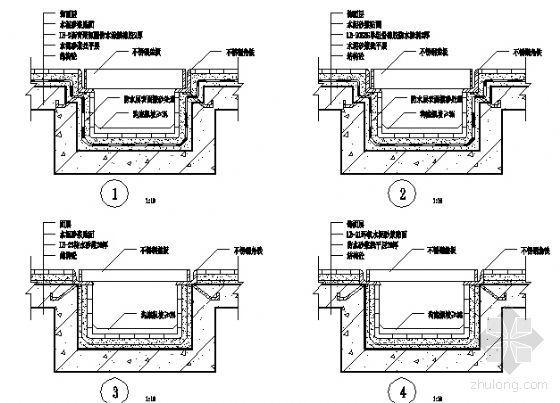 U型槽钢筋构造图资料下载-厨浴厕结构承槽明沟防水节点构造图