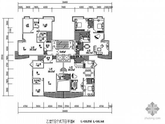 高层塔式一梯四户平面户型(225.3/225.3/245.1/245.1)