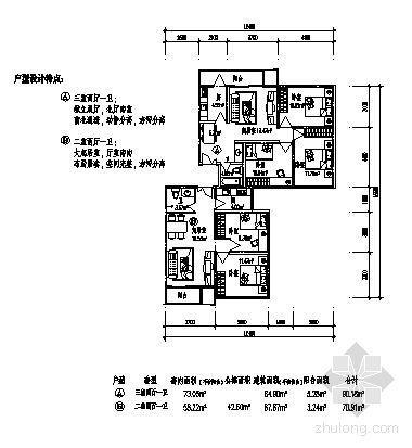 三室两厅一卫(90.38m2)