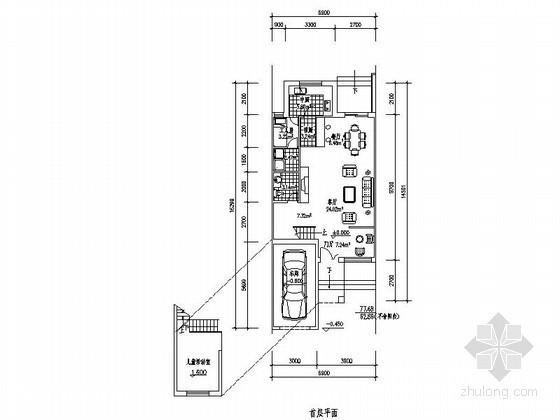 某三层带车库联排别墅平面图(南入口、221平方米)