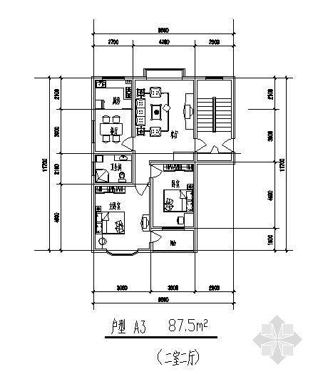 二室二厅(87.5平方米)