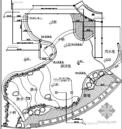 花园泳池平面详图