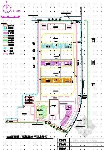 [北京]住宅小区雨季施工现场排水平面布置图