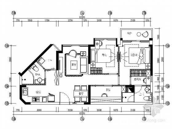 [深圳]现代简约三居室样板房E户型设计装修图(含水电图)