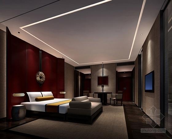 [北京]简约中式艺术酒店室内设计概念方案-[北京]简约中式风格艺术酒店室内设计概念方案客房卧室概念