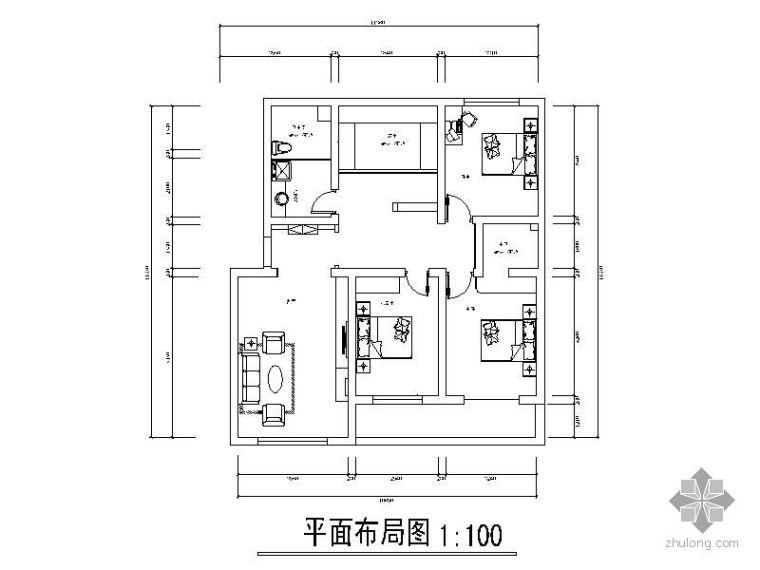 现代乡村风格三室两厅装修施工图(含效果图)