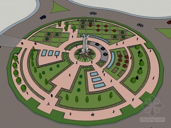 环形广场SketchUp模型下载
