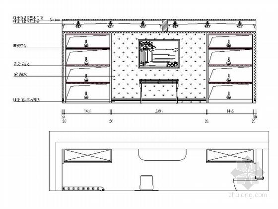 名师设计简欧风情跃层样板间CAD装修施工图(含效果)雪茄吧立面图