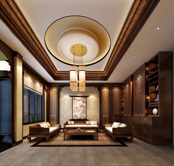 [山西]优雅庄重中式风格别墅室内设计施工图(含效果图)_8