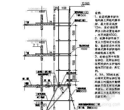 北京某公寓临时悬挑脚手架立面图