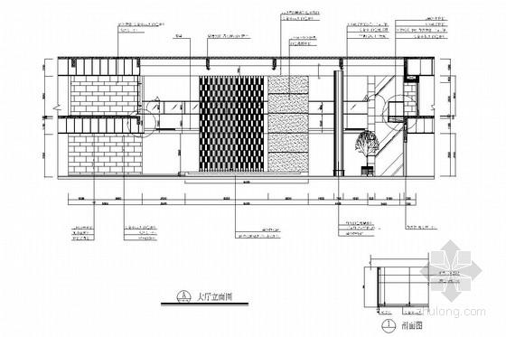 [浙江]皮革之都生产出口时尚皮草公司研发中心施工图 大厅立面图