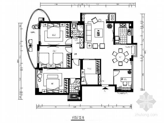 [福州]现代简约风格五居室样板间装修图(含效果)