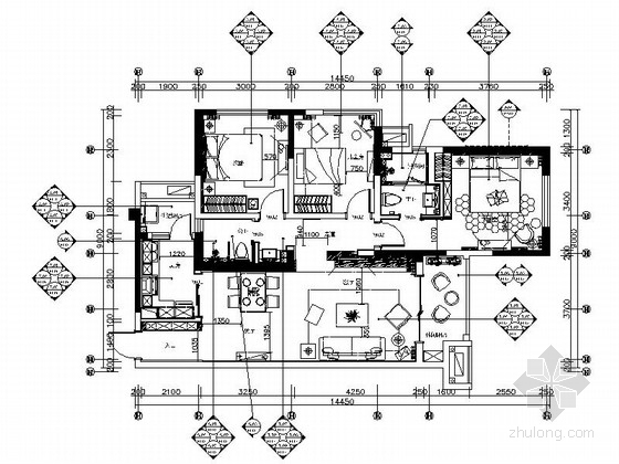 [四川]简约现代风格三居室室内装修施工图(含高清效果图)