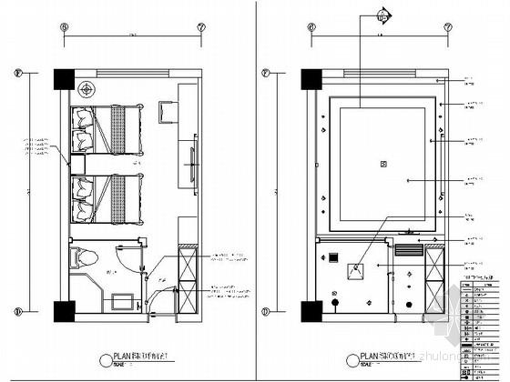 [原创]小型现代新中式风格宾馆客房室内装修施工图(含效果图)