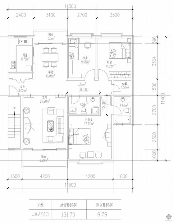 板式多层一梯两户三室一厅二卫户型图(131/131)