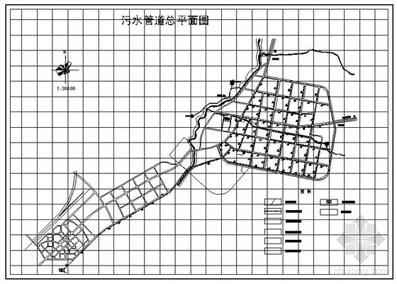 某县城排水管网规划图