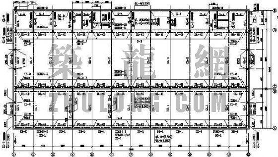 某砼柱轻钢屋面厂房结构图