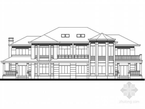 某二层欧式高档双拼别墅建筑扩初图
