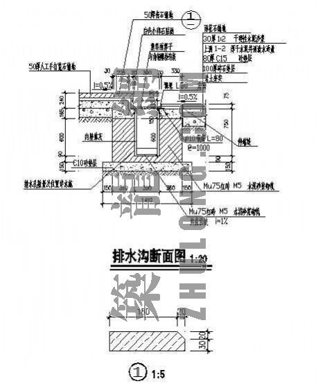 排水沟断面图-2