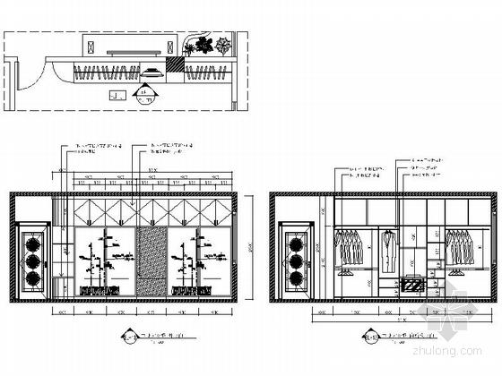 现代时尚三室两厅设计装修图主卧衣柜立面图