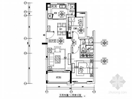 [佛山]某豪华小区两居室样板间室内装修图