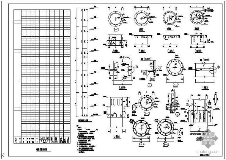 某钢管混凝土柱大样及柱表节点构造详图