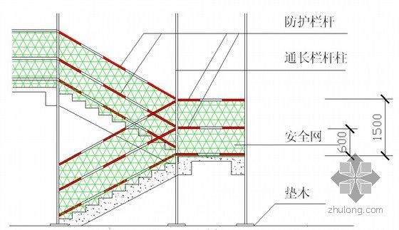 [湖北]框剪结构宝石型屋面会议中心施工组织设计(200余页附图)-楼梯防护栏杆搭设示意图