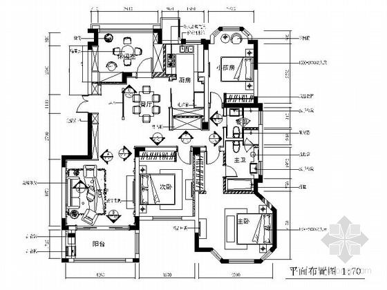 现代简欧风格四居室施工图(含客厅效果图)