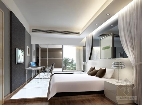 [武汉]花园洋房时尚两居室样板间装修施工图(含效果实景及手绘图)卧室效果图