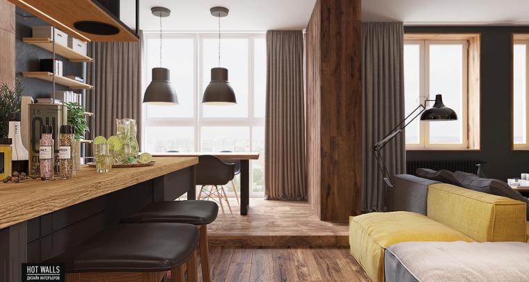 俄罗斯:木质与黑色调营造温暖酷炫的居家氛围_7