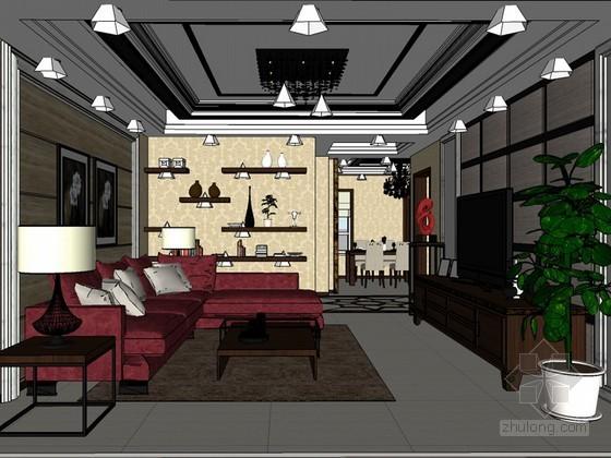 美式客厅SketchUp模型下载