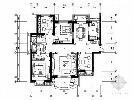 [上海]奢华法式风格151平米三居室样板间室内装修施工图(含效果图)