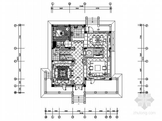 [北京]高端简欧风格三层别墅室内装修施工图(含效果)