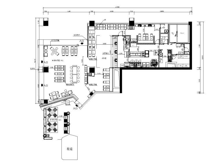 现代简约风格西餐厅装修施工图(附效果图)