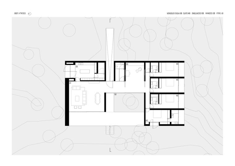 悬浮于松林沙地中的白色住宅平面图(14)