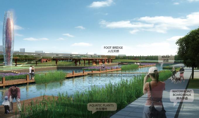[河南]滨河生态可持续性复合廊道驿站铁路沿线绿地景观设计方案