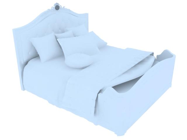 漂亮双人床3D模型下载