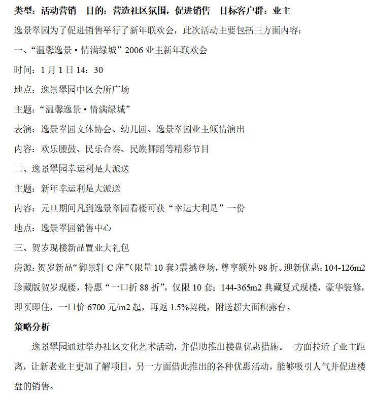 房地产营销推广活动方案集锦(共217页)-逸景翠园——举办元旦活动
