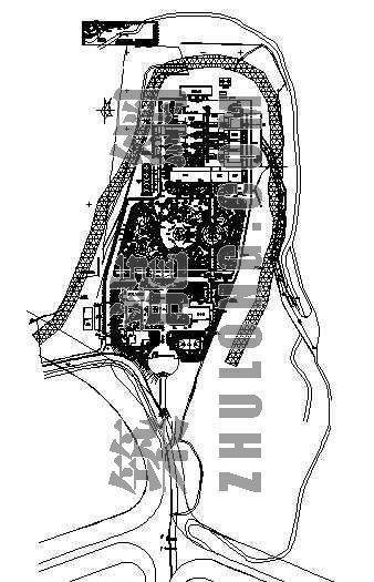 某垃圾处理厂区绿化总平面图