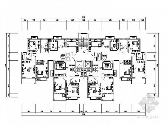 塔式高层一梯四户户型平面图(120\70、105\90)