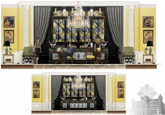高级品牌国际连锁酒店室内设计方案酒吧立面图