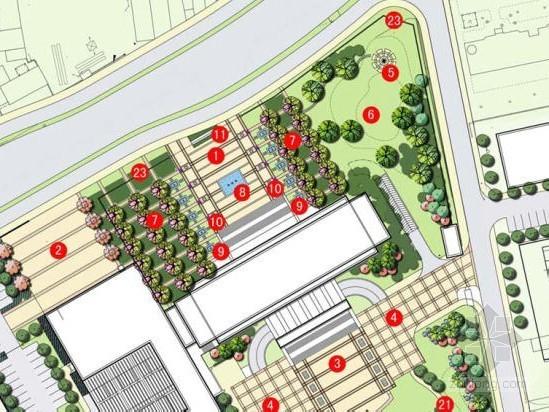 某办公楼前广场景观设计方案