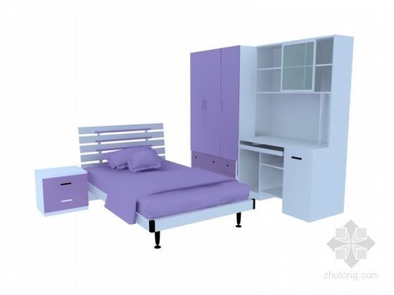 紫色儿童家具3D模型下载