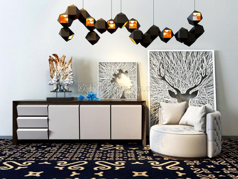 椅子电视柜组合模型效果图