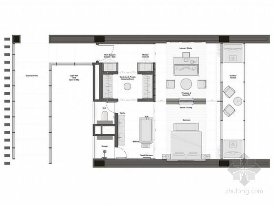 [青岛]顶级文化创意现代极简风格度假酒店客房设计方案图