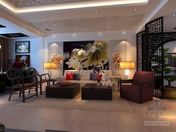 新现代中式风格客厅3d模型下载