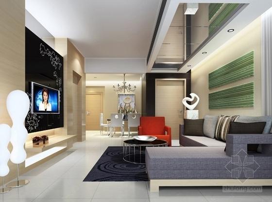 [武汉]花园洋房时尚两居室样板间装修施工图(含效果实景及手绘图)客厅效果图