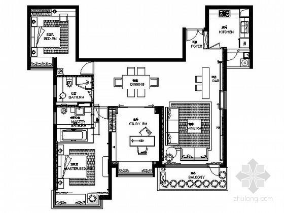 [合肥]三室两厅现代样板房施工图(含效果)